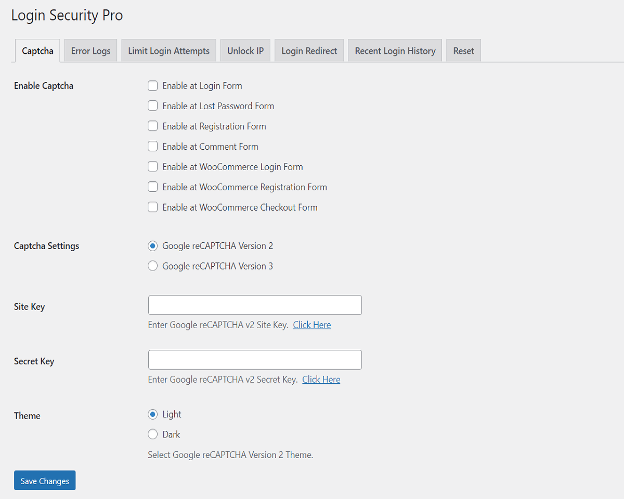 Settings - Login Security Pro