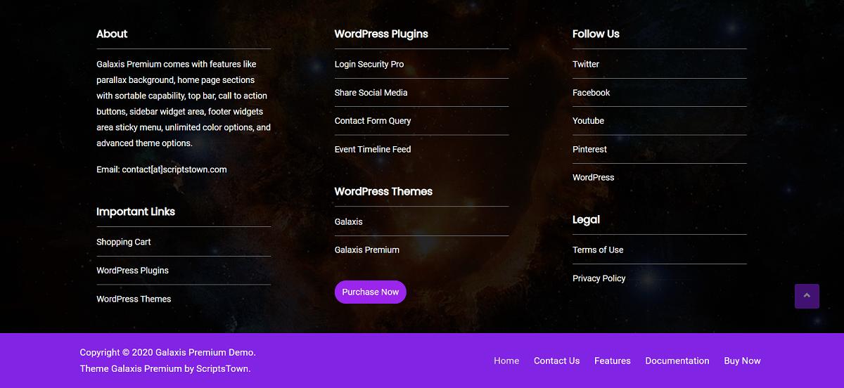 Footer Widgets - Galaxis Premium