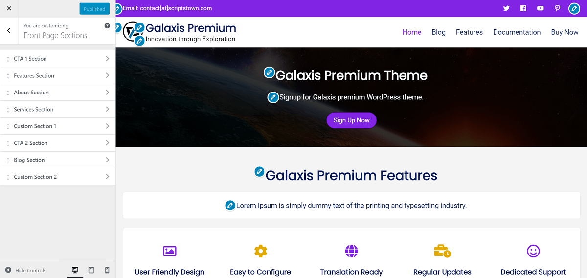 Front Page Sections - Galaxis Premium