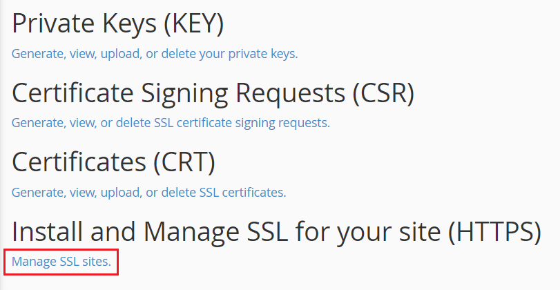 Manage SSL sites - cPanel