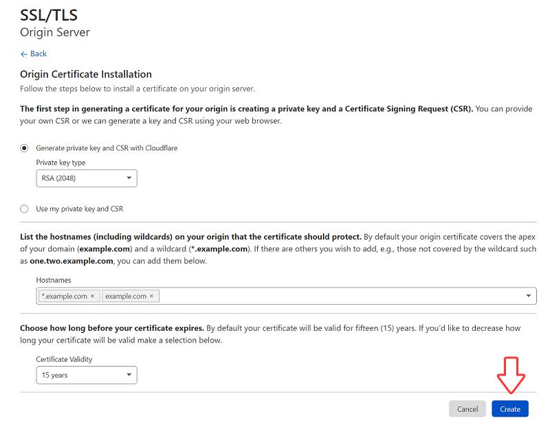 Origin Certificate Installation - Cloudflare