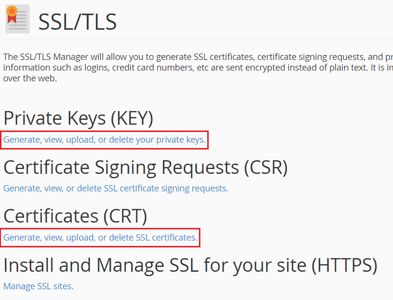 Private Key and Origin Certificate Key - CRT