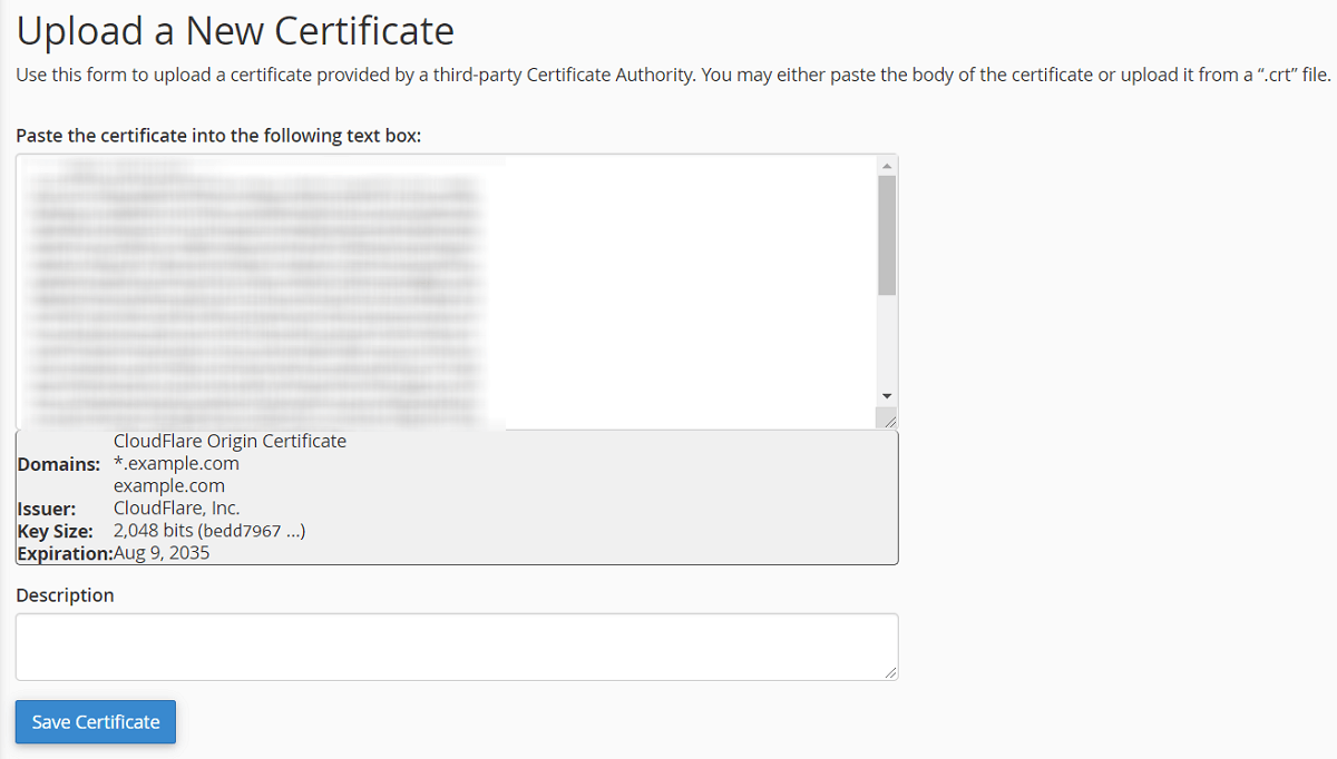 Upload Origin Certificate for Domain SSL using cPanel