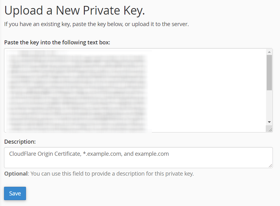 Upload a New Private Key for Domain SSL using cPanel