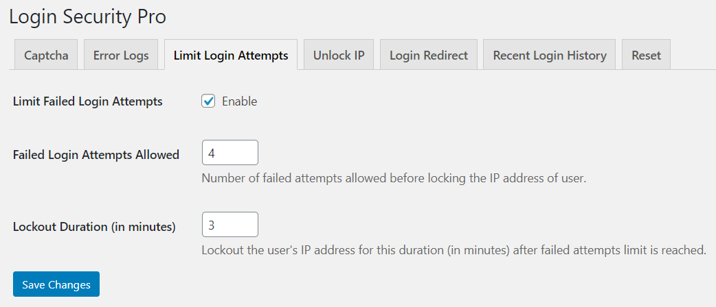 Limit Failed Attempts and Automatically Block IP Address