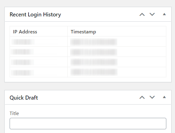 Recent Login History Dashboard Widget