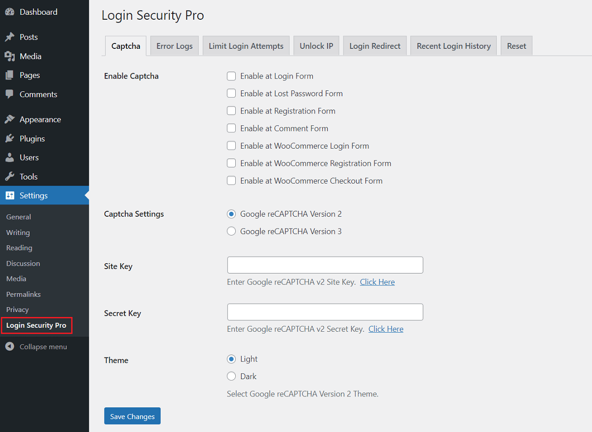 Settings - Login Security Pro WordPress Plugin