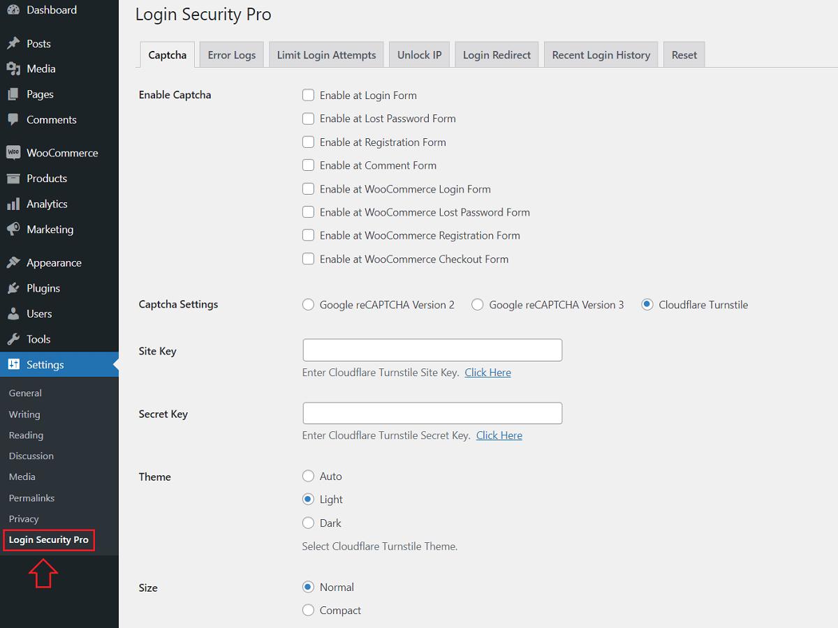 Settings - Login Security Pro WordPress Plugin