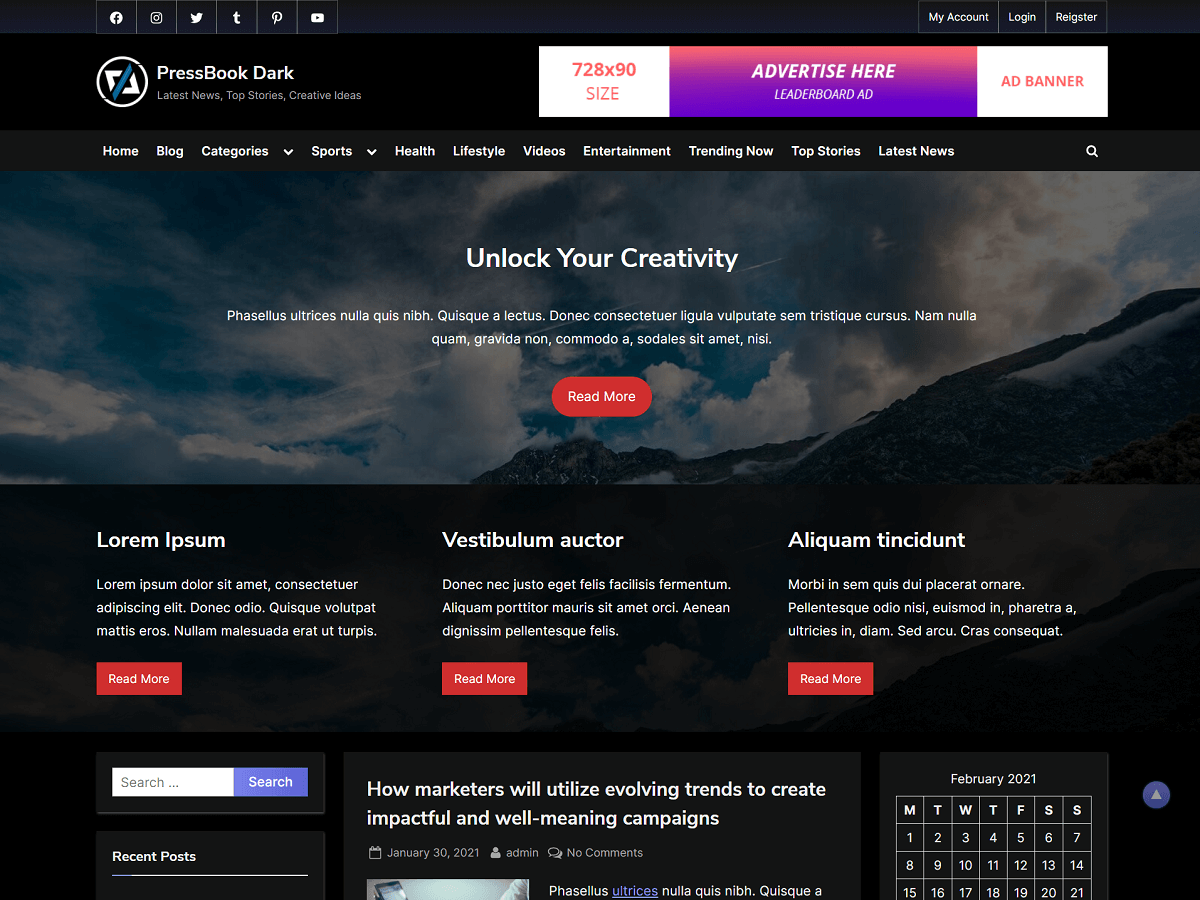 PressBook Dark - WordPress Theme