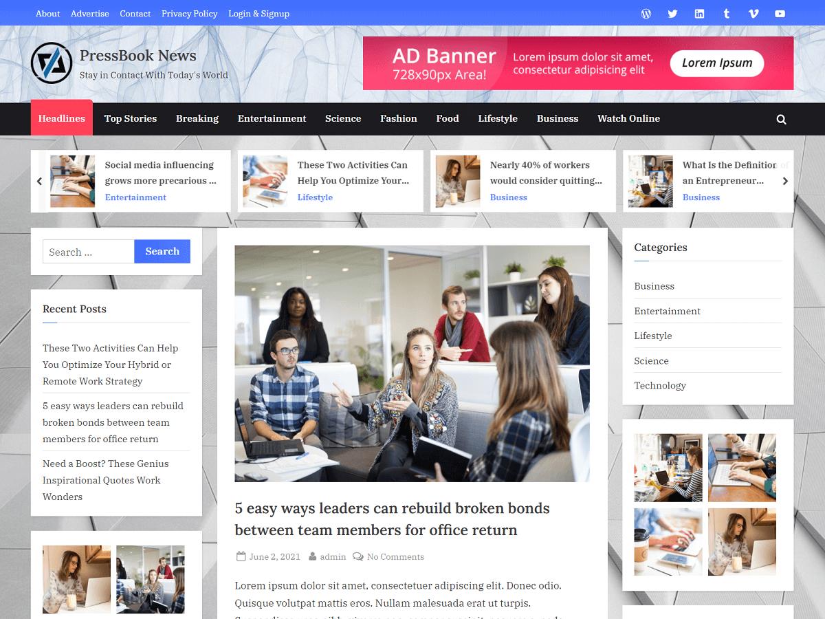 PressBook News - WordPress Theme