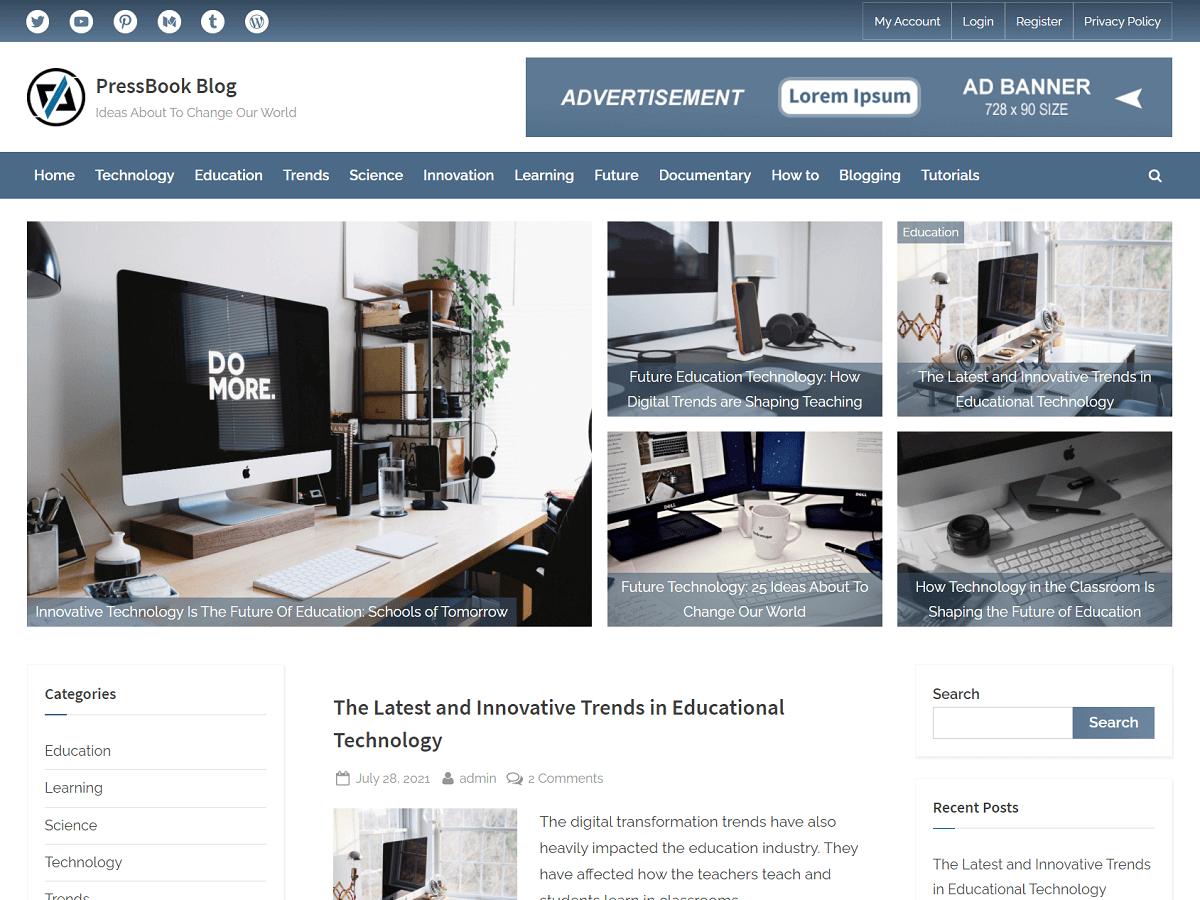 PressBook Blog - WordPress Theme