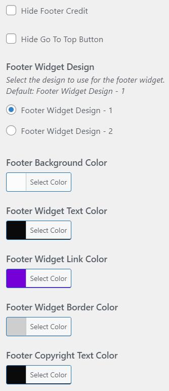 Footer Options - PressBook Premium